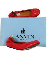 Lanvin Red Lambskin Ballet Flats