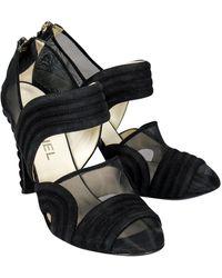Chanel Black Suede Mesh Detail Heels