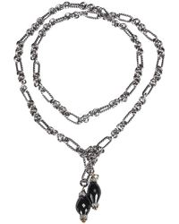 David Yurman Sterling Silver Figaro Tie Lariat Necklace W/ Onyx - Metallic