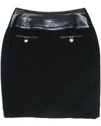 Celine Black Wool Pencil Skirt W/ Leather Waist