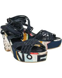 Chanel Novelty Print Strappy Wedges - Blue