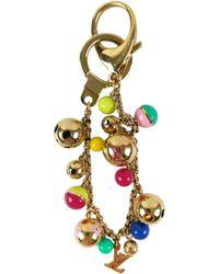 Louis Vuitton Gold Multi -color Beaded Chain Bag Charm - Metallic