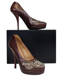 Dries Van Noten Brown Leather Pumps W/ Silver Beading