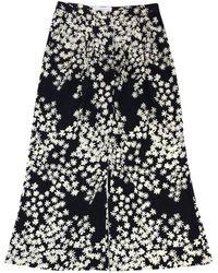 Carolina Herrera - Black & Beige Floral Silk Pants - Lyst