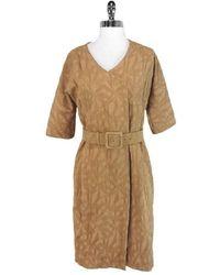 Marni Tan Belted Brocade Jacket - Brown