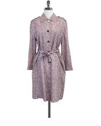 ESCADA Pink Snakeskin Print Silk Trench Coat