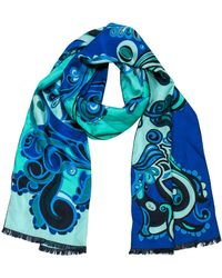 Emilio Pucci Blue Paisley Printed Silk Scarf