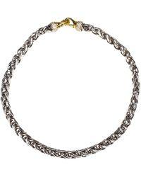 David Yurman Sterling Silver & 18k Gold Wheat Chain Necklace W/ Diamonds - Metallic