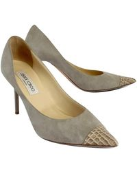 Jimmy Choo - Suede & Croc Embossed Leather Pumps - Lyst