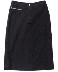 Celine Wool Blend Charcoal Pencil Skirt - Gray