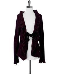 ESCADA - Red & Black Knit Wool Blend Cardigan W/ Velvet Tie - Lyst
