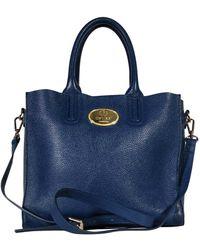 Roberto Cavalli Blue Pebbled Leather Satchel
