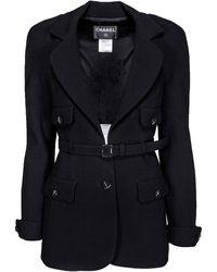 Chanel Black Wool Blazer W/ Waist Belt