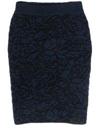 The Row Navy & Black Fuzzy Textured Pencil Skirt - Blue
