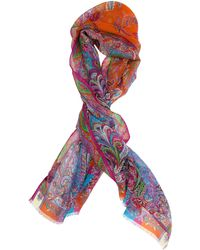 Etro - Multi-color Print Silk Scarf - Lyst