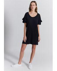 Current/Elliott The Ruffle Roadie T-shirt Dress - Black