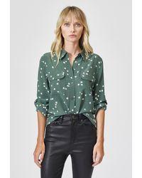 Current/Elliott Equipment Slim Signature Silk Shirt - Green