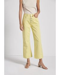 Current/Elliott The Zig-zag Femme Cropped Bell Jean - Yellow