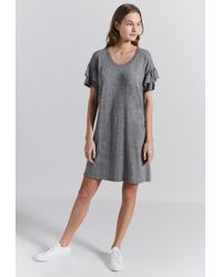 Current/Elliott The Ruffle Roadie Dress - Gray