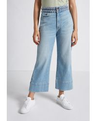 Current/Elliott The Braided High Waist Cropped Camp Jean - Blue