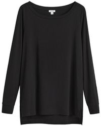 Cuyana Pima Boatneck Long Sleeve Tee - Black