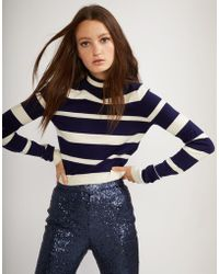 Cynthia Rowley | Navy And White Striped T-neck Sweater | Lyst