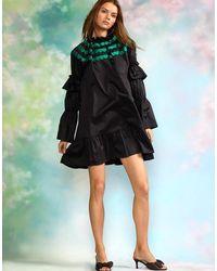 Cynthia Rowley Eden Scallop Embroidered Dress - Black