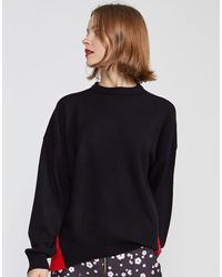 Cynthia Rowley Willow Merino Cashmere Colorblock Sweater - Black