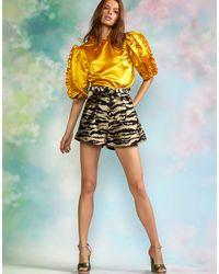 Cynthia Rowley Felicity Satin Ruffle Top - Yellow