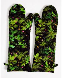 Cynthia Rowley Quilted Oven Mitts - Green