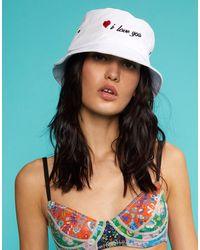 Cynthia Rowley I Love You Bucket Hat - White