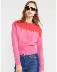 Cynthia Rowley Snowbird Intarsia Knit Sweater - Pink