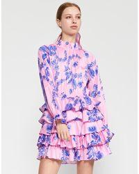 Cynthia Rowley Samantha Printed Ruffle Cotton Dress - Purple