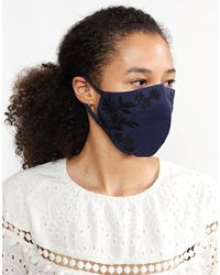 Cynthia Rowley Embroidered Cotton Mask - Blue