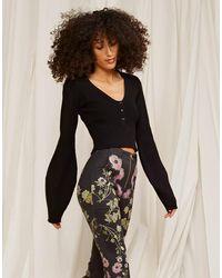 Cynthia Rowley Viscose Balloon Sleeve Sweater - Black