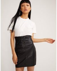 Cynthia Rowley Lace Front Leather Skirt - Black