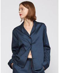 Cynthia Rowley Cotton Pajama Shirt - Blue