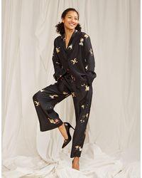 Cynthia Rowley Zodiac Silk Pajama Pant - Black