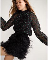 Cynthia Rowley Vera Ostrich Feather Mini Skirt - Black