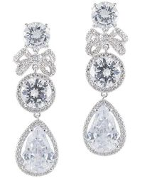 CZ by Kenneth Jay Lane Round And Pear Cz Bow Dangle Earring - Multicolor