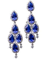 CZ by Kenneth Jay Lane Vivid Sapphire 5 Pear Chandelier Earrings - Blue