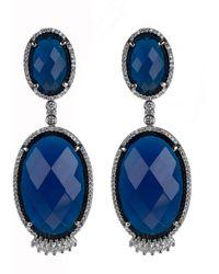 CZ by Kenneth Jay Lane Double Blue Oval Earrings