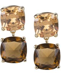 CZ by Kenneth Jay Lane Champagne And Topaz Cushion Drop Earrings - Metallic