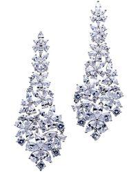 CZ by Kenneth Jay Lane Graduated Flora Earrings - Blue