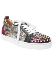 Christian Louboutin Version Gold Glitter Louis Junior Spikes Embellished Sneakers - Lyst