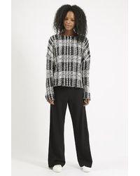 TOPSHOP - Fluffy Checked Sweatshirt - Lyst