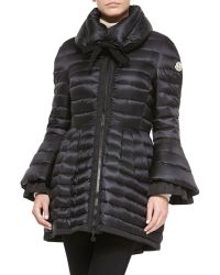 Moncler - Couperin Flare-Skirt Ruffle-Cuff Coat - Lyst