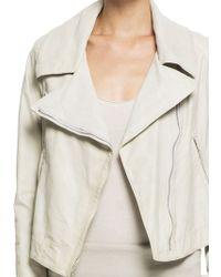 Donna Karan New York Long Sleeve Leather Asymmetric Zip Jacket - Lyst