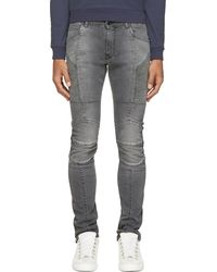 Balmain Washed Black Ribbed And Reinforced Biker Jeans - Lyst