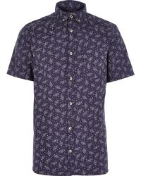 River Island Navy Japanese Floral Print Shirt - Lyst